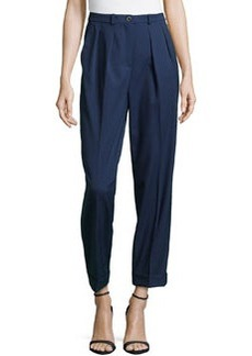 Michael Kors Slim Pleated Cuffed Pants, Indigo
