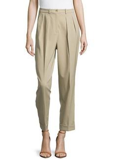 Michael Kors Slim Pleated Cuffed Pants, Sand
