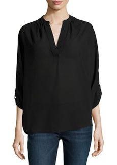 Michael Kors Slit-Front Silk Blouse, Black