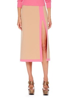 Michael Kors Slit-Front Two-Tone Midi Skirt, Suntan