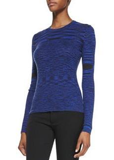 Michael Kors Space-dye Cashmere Long-Sleeve Top, Sapphire