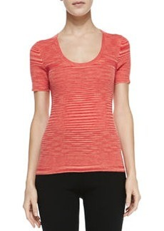 Michael Kors Space-dye Cashmere Short-Sleeve Top, Coral