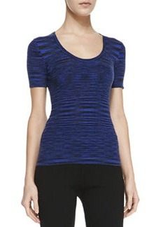 Michael Kors Space-dye Cashmere Short-Sleeve Top, Sapphire