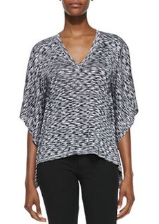 Michael Kors Space-dye V-Neck Top, Black/White