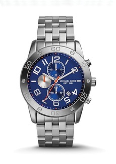 Michael Kors Stainless Steel & Navy Mercer Watch, 45mm