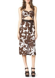 Michael Kors Strapless Cutout Floral-Print Dress