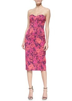 Michael Kors Strapless Floral-Print Sheath Dress