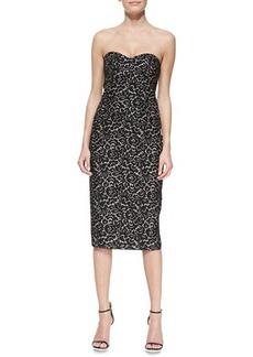 Michael Kors Strapless Lace Jacquard Sheath Dress