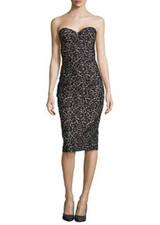 Michael Kors Strapless Lace Jacquard Sheath Dress, Black/Nude