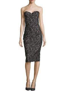 Michael Kors Strapless Lace Jacquard Sheath Dress, Black/Nude