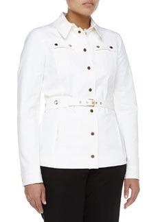 Michael Kors Stretch Broadcloth Utility Jacket, Optic White