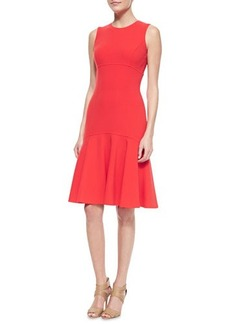 Michael Kors Stretch-Crepe Flare Sheath Dress, Coral