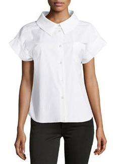 Michael Kors Stretch Poplin Short-Sleeve Button Top, White