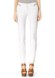 Michael Kors Stretch-Twill Zipper Pants, White