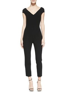 Michael Kors Stretch Wool Crepe Catsuit, Black