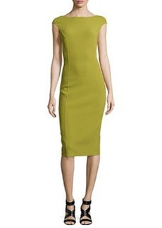 Michael Kors Stretch-Wool Crepe Sheath Dress, Leaf