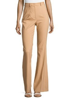 Michael Kors Stretch-Wool Flared Trousers, Suntan