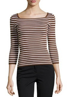 Michael Kors Striped Cashmere 3/4-Sleeve Top, Nutmeg