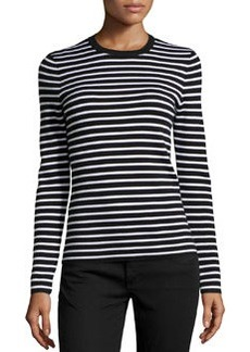 Michael Kors Striped Cashmere Top, Black/White