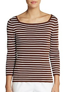 Michael Kors Striped Double Squareneck Cashmere Top