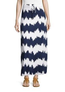 Michael Kors Striped Drawstring Maxi Skirt