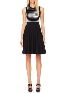 Michael Kors Striped Flare-Skirt Dress