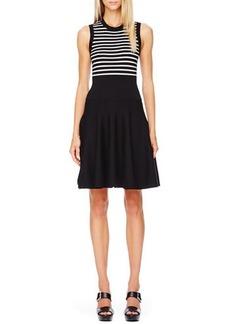 Michael Kors Striped Flare-Skirt Dress