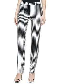 Michael Kors Striped Shantung Pants, Midnight/White