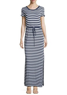 Michael Kors Striped Short-Sleeve Belted Maxi Dress