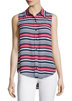 Michael Kors Striped Sleeveless High-Low Blouse