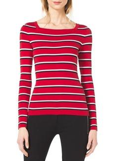 Michael Kors Striped Square-Neck Sweater