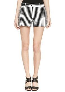 Michael Kors Striped Twill Mini Shorts, Black/White