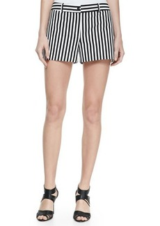 Michael Kors Striped Twill Shorts, Black/Optic White
