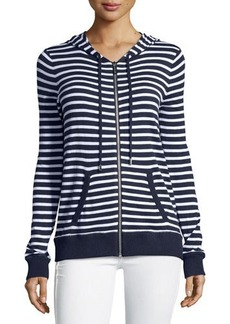 Michael Kors Striped Zip-Up Hooded Jacket