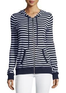 Michael Kors Striped Zip-Up Hooded Jacket, Real Navy