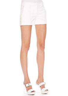 Michael Kors Stud-Side Twill Shorts, White