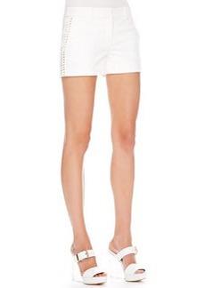 Michael Kors Stud-Side Twill Shorts, White