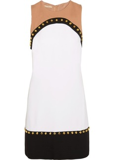 Michael Kors Studded paneled crepe dress