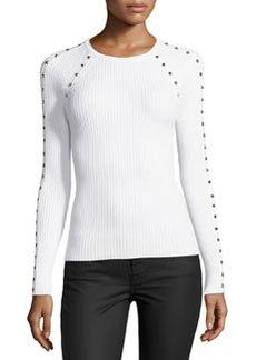 Michael Kors Studded Ribbed Long-Sleeve Top, White