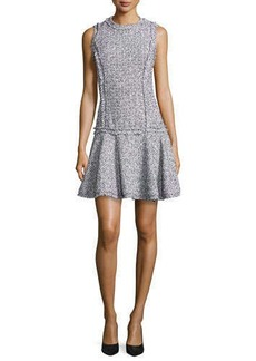 Michael Kors Summer Tweed Mini Sheath Dress, Optic White/Black