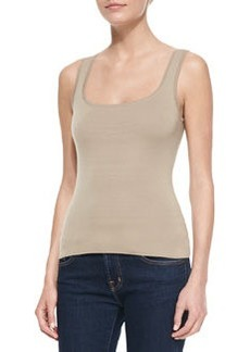 Michael Kors Super Cashmere Square-Neck Shell Top, Hemp