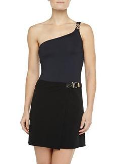 Michael Kors Swimwear Belted Faux-Wrap Swim Skirt, Black