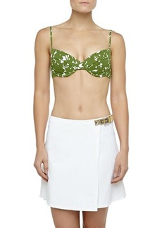 Michael Kors Swimwear Belted Faux-Wrap Swim Skirt, Optic White