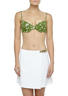 Michael Kors Swimwear Belted Faux-Wrap Swim Skirt, Optic White
