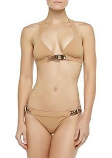 Michael Kors Swimwear Belted Halter Bikini Set, Suntan