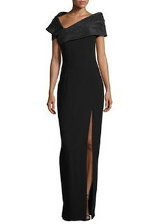 Michael Kors Taffeta Portrait Collar Gown with Slit, Black