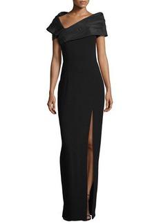 Michael Kors Taffeta Portrait Collar Gown with Slit, Black