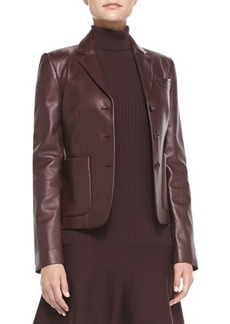 Michael Kors Three-Button Leather Blazer