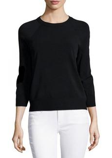 Michael Kors Three-Quarter-Sleeve Raglan Sweater, Black