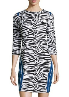 Michael Kors Three-Quarter-Sleeve Zebra-Print Dress